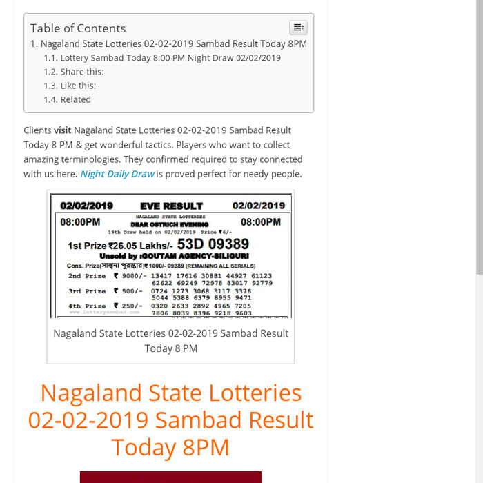 Mix · Nagaland State Lotteries 02-02-2019 Sambad Result