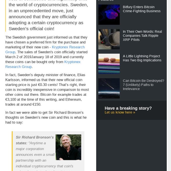 sweden cryptocurrency official coin