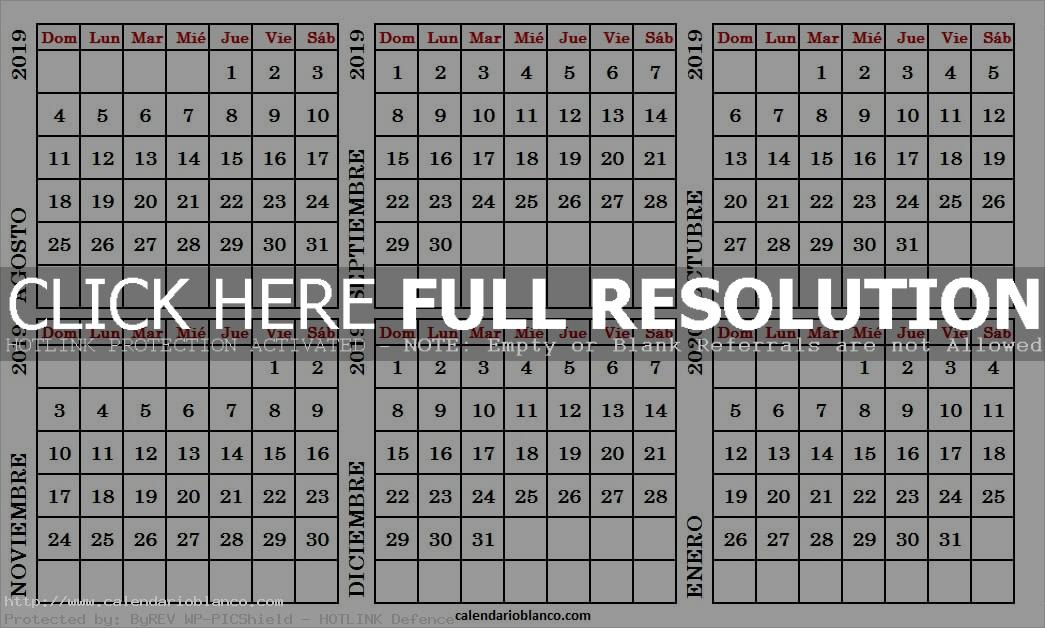 Calendario De Agosto 2019 Para Imprimir.Mix Calendario Agosto 2019 A Enero 2020 Para Imprimir