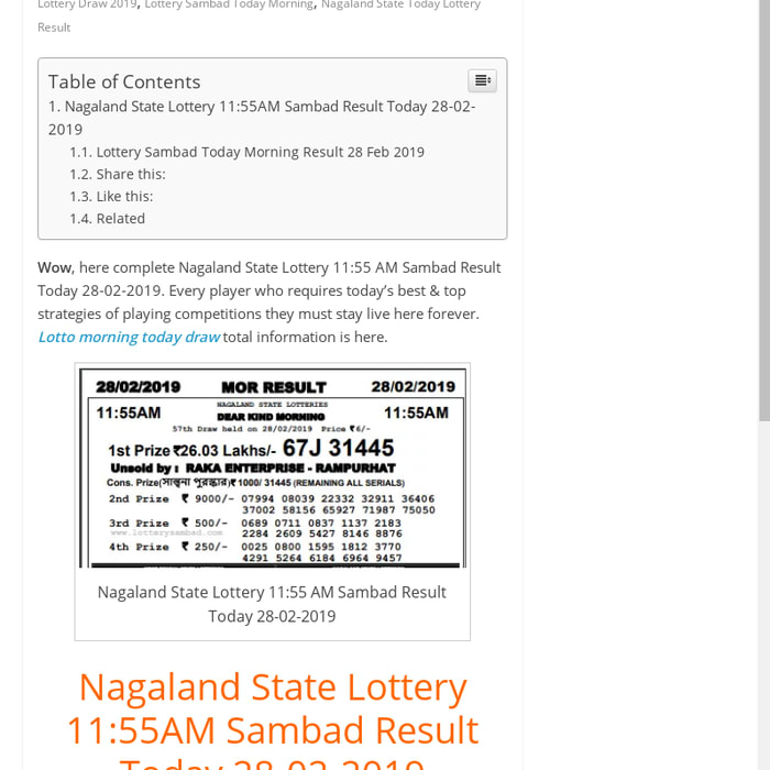 Mix · Nagaland State Lottery 11:55 AM Sambad Result Today 28-02-2019