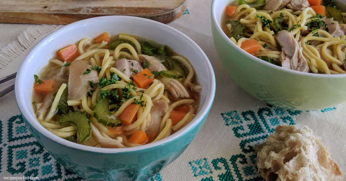 Mix Easy Homemade Chicken Noodle Soup With Egg Noodles