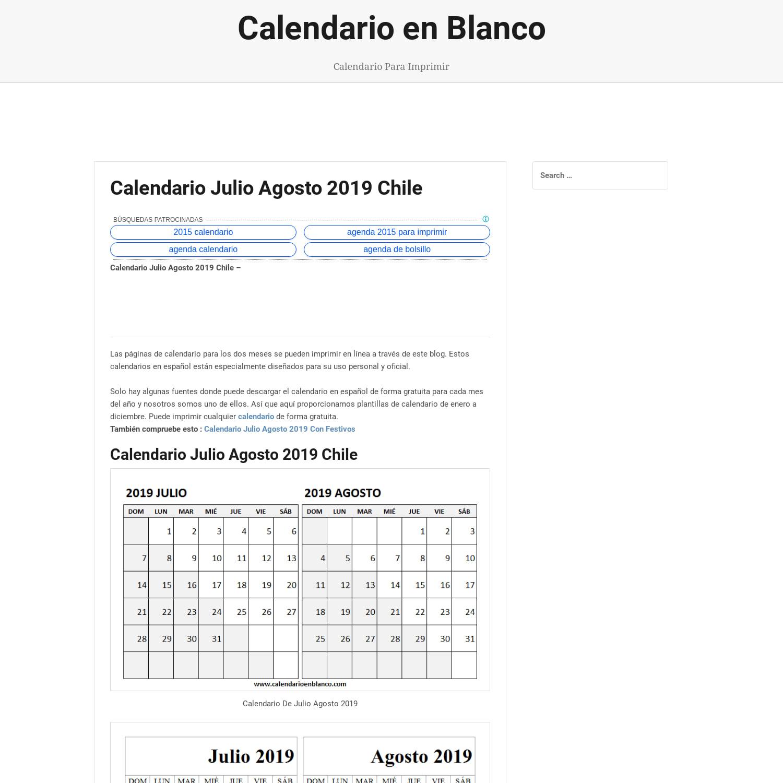 Julio Calendario 2019.Mix Calendario Julio Agosto 2019 Chile Calendario 2019 Word