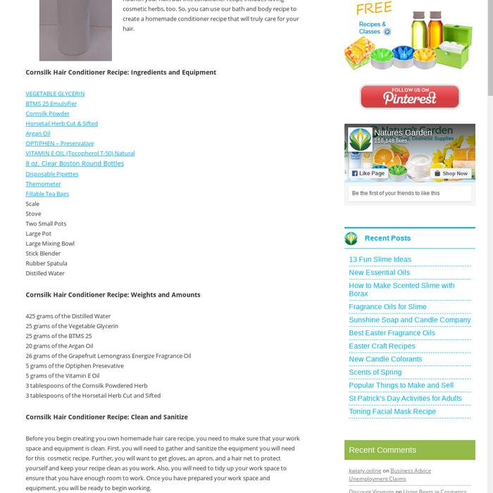 Mix Cornsilk Hair Conditioner Recipe Natures Garden Fragrance Oils
