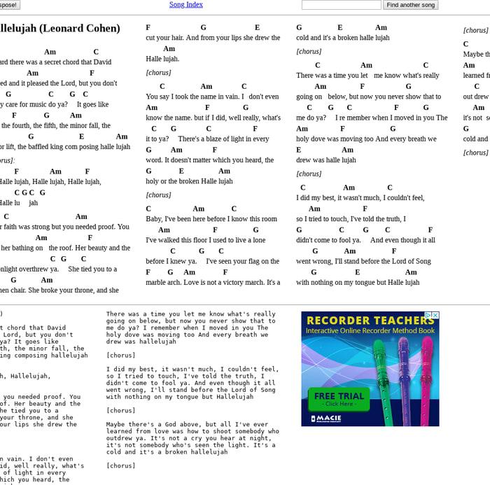 Mix Leonard Cohen Hallelujah Chords And Lyrics