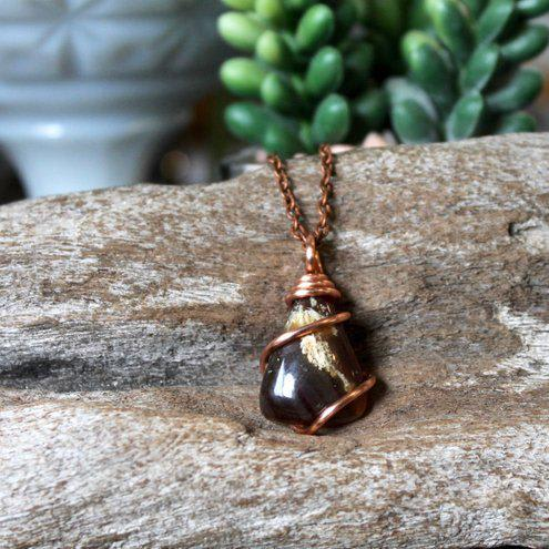Mix Real Amber Necklace Natural Organic Jewelry Wire Wrapped