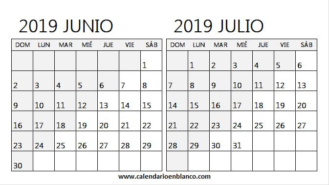 Calendario Julio 2019 Para Imprimir.Mix Calendario Junio Julio 2019 Para Imprimir Calendario