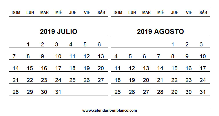 Calendario 2019 Julio.Mix Calendario Julio Y Agosto 2019 Excel Calendario 2019