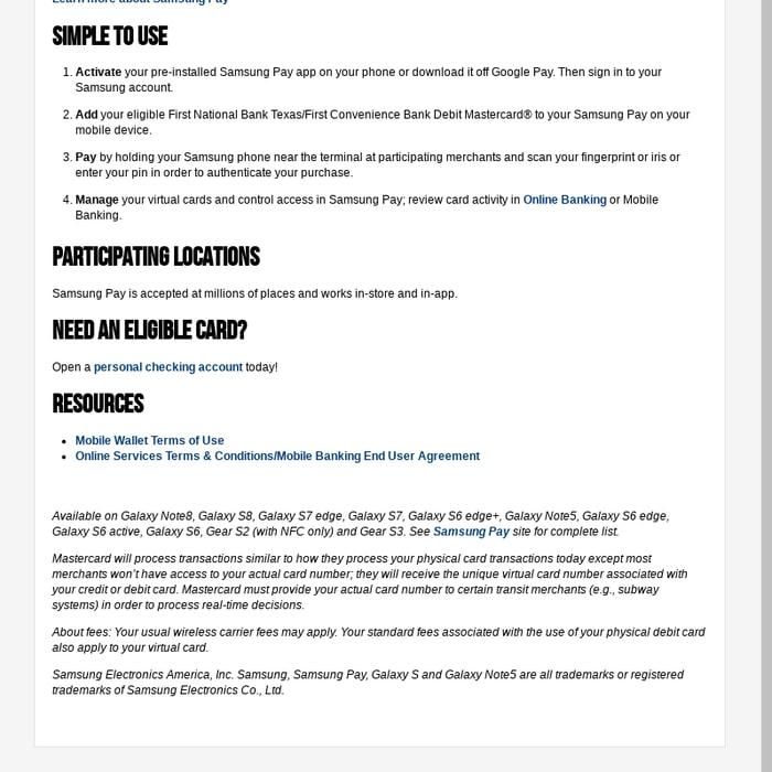 Mix · Samsung Pay | First National Bank Texas - First