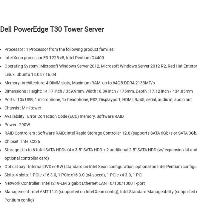 Mix · Dell PowerEdge T30 Tower Server|Dell PowerEdge Tower