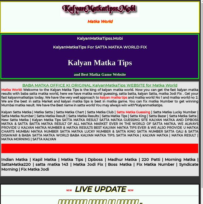 Mix · Matka World   Kalyan Matka Tips   Matka Game Results