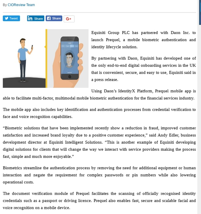 Mix · Equiniti Launches Daon-Based Mobile Biometric