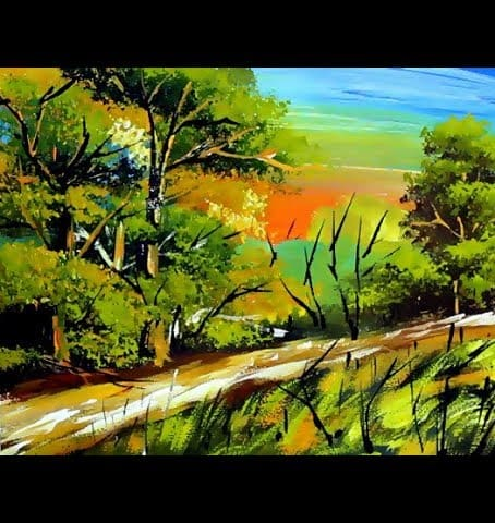 Mix Acrylic Painting For Beginners Nature Scenery Drawing