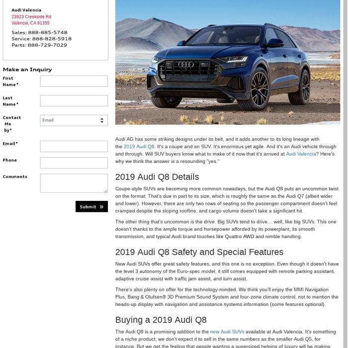 Audi Dealership Near Me >> Mix 2019 Audi Q8 Audi Valencia Audi Dealer Near Lancaster
