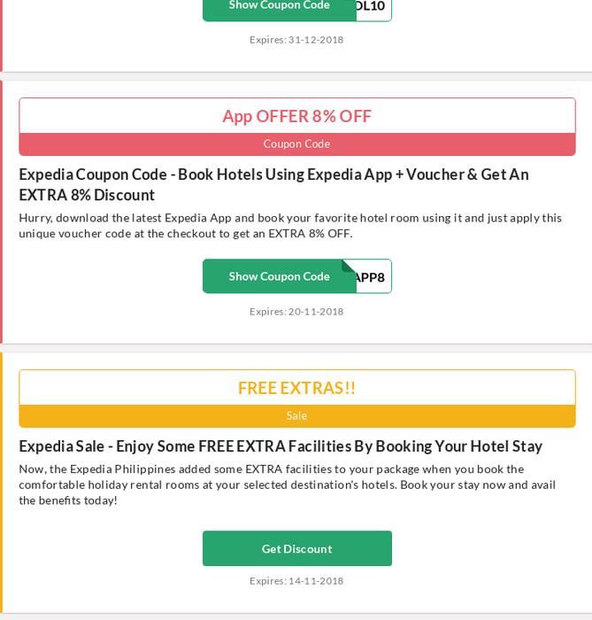Mix · Expedia Voucher Code   67% OFF   November - 2018   Philippines
