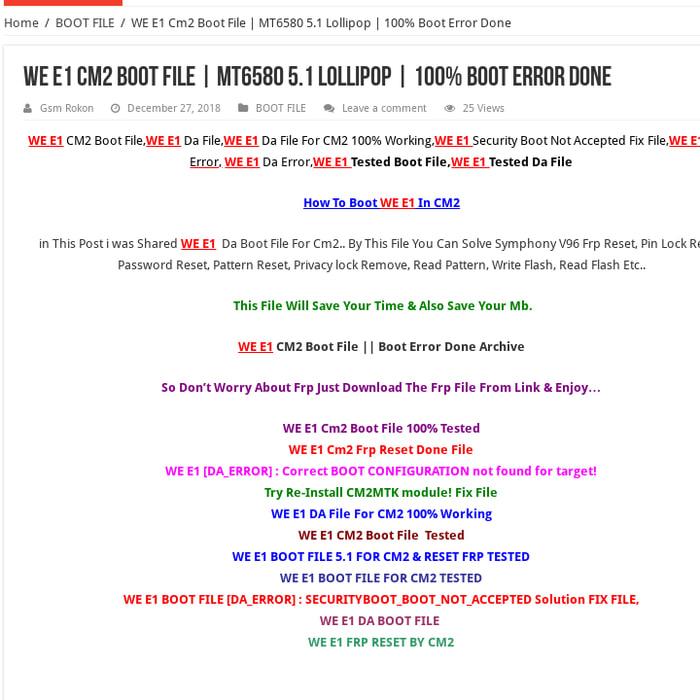 Mix · WE E1 Cm2 Boot File   MT6580 5 1 Lollipop   100% Boot