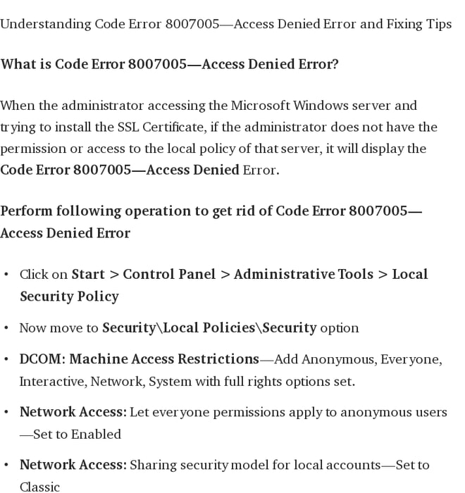 Mix · How to Fix Code Error 80070005 — Access Denied in