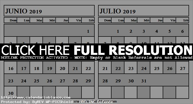 Calendario Julio 2019 Grande.Mix Calendario Junio Julio 2019 Grande Mes De Junio
